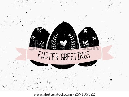 Hand drawn style easter eggs and banner card template. - stock vector