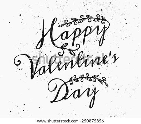 Hand drawn style greeting card for St. Valentine's Day in black and white. - stock vector