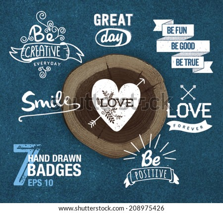 Hand Drawn Style Logos And Badges. Elements for design. - stock vector