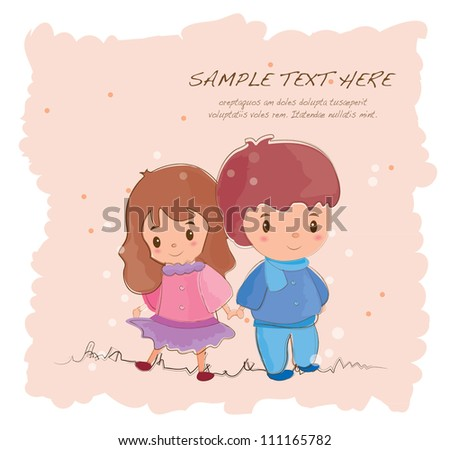 hand drawn style romantic cute couples