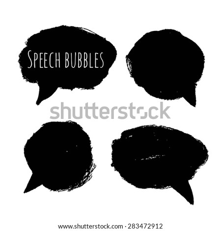 Hand drawn style speech bubbles for labels and stickers - stock vector