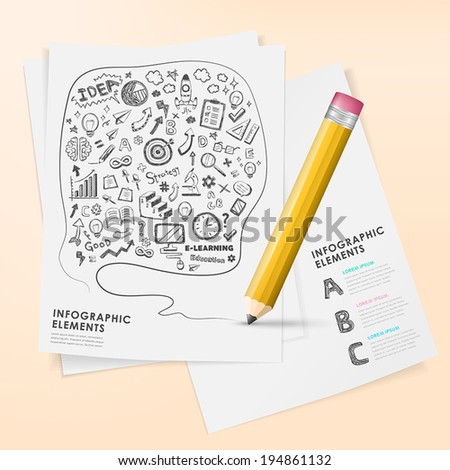 hand drawn style vector pencil infographic elements and icon set - stock vector