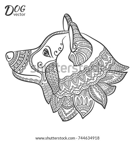 Hand Drawn Stylized Dog For Coloring Page Symbol Of 2018 Chinese New Year Freehand
