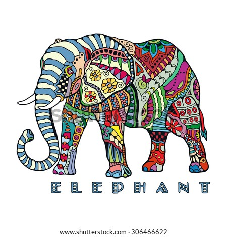 Hand drawn stylized elephant with decorative tribal ethnic ornament. Graphics for t-shirt, poster, isolated element for invitation or card design, tattoo style, colorful vector illustration - stock vector