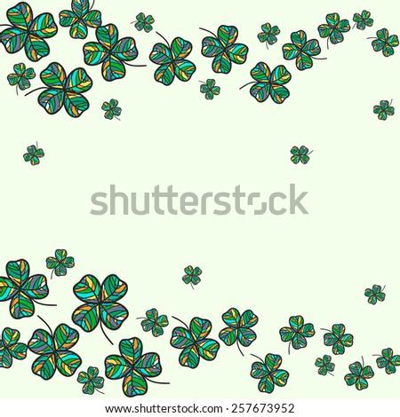 hand drawn stylized shamrock background, saint patrick holiday design, colorful vector illustration - stock vector