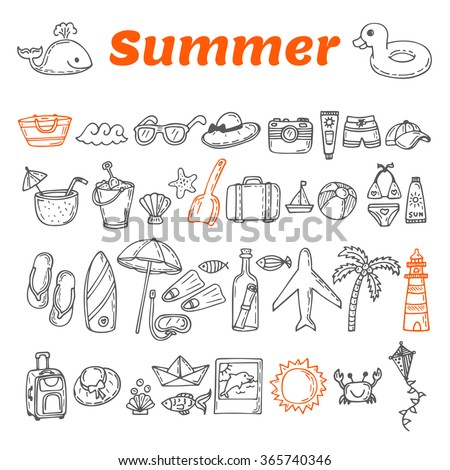 Hand drawn summer collection. Beach theme doodle set. Travel collection. Summer time icons set. Vector illustration - stock vector