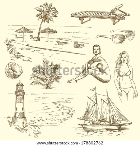 hand drawn summer collection - vector illustration - stock vector