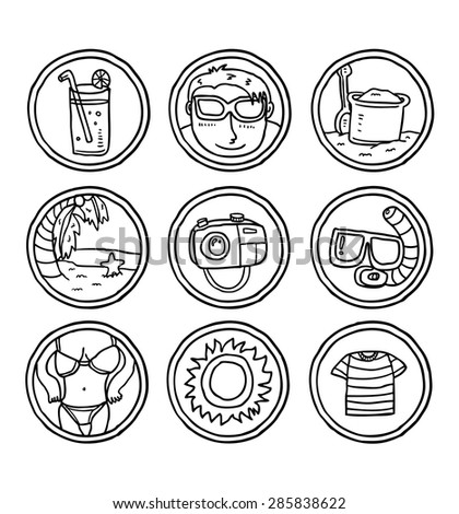 hand drawn summer themed icon - stock vector