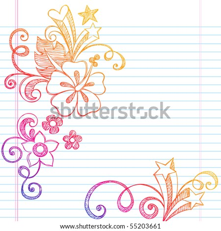 Hand-Drawn Summer Vacation Hibiscus Flower and Swirls Tropical Sketchy Notebook Doodles Vector Illustration on Lined Sketchbook Paper Background - stock vector