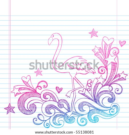 Hand-Drawn Summer Vacation Pink Flamingo and Swirls Sketchy Notebook Doodles Vector Illustration on Lined Sketchbook Paper Background - stock vector