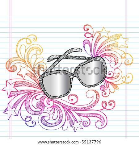 Hand-Drawn Summer Vacation Swirly Sunglasses Sketchy Notebook Doodles Vector Illustration on Lined Sketchbook Paper Background - stock vector