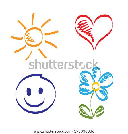 Hand drawn sun, heart, smile and flower - stock vector