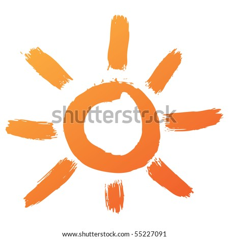 hand drawn sun icon - stock vector