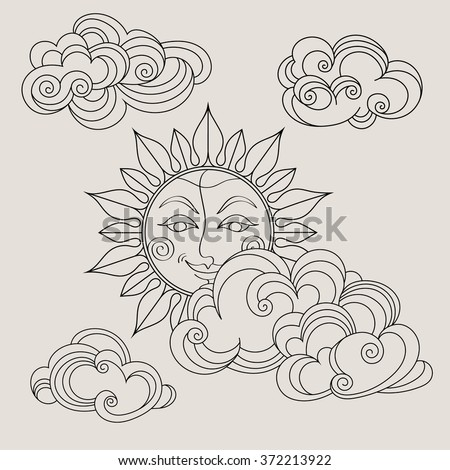 Hand drawn sun with clouds. Coloring book pages for kids and adults. Vector illustration. - stock vector