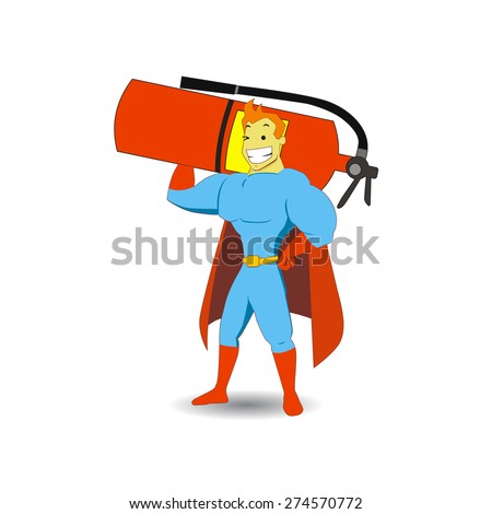 Hand drawn superhero cartoon brings a giant fire extinguisher object on his shoulder. Perfect for magazine illustration or website design elements - stock vector