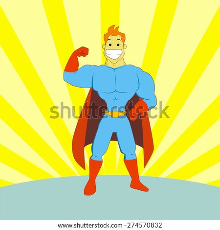 Hand drawn superhero cartoon pose showing his muscle in blue and red costumes. Perfect for magazine illustration or website design elements