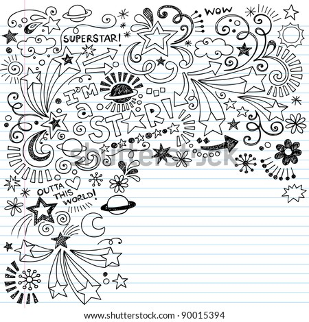 Hand-Drawn Superstar Scribble Inky Doodles- Back to School Notebook Doodle Design Elements on Lined Sketchbook Paper Vector Illustration - stock vector