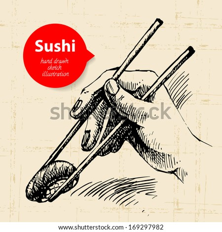 Hand drawn sushi illustration. Sketch background - stock vector