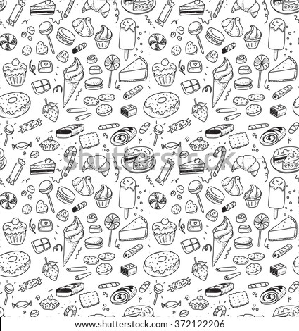 Hand drawn sweets and candies pattern. Vector doodles. Isolated food on white background. Seamless texture. Ice cream, cake, donut, etc. Black and white. - stock vector