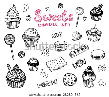 Hand drawn sweets doodle elements set with candies, cupcakes, cookies, chocolates, lollipops and jellyes