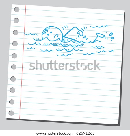 Hand drawn swimmer - stock vector