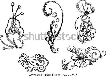 Hand Drawn Swirl Design Elements - stock vector