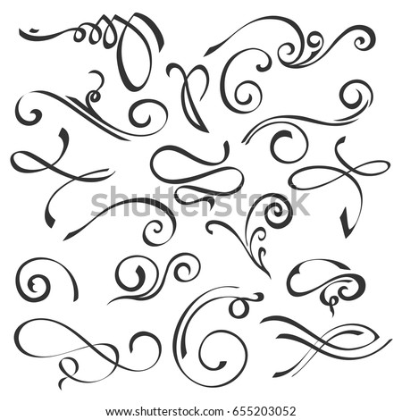 Hand Drawn Swirl Ornate Decoration Elements Quill Pen Calligraphy Style Vector Set For Your