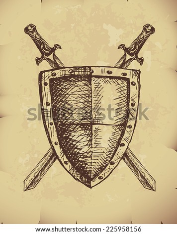 Hand drawn swords and shield on old paper. Eps8. CMYK. Organized by layers. Global colors. Gradients used. - stock vector
