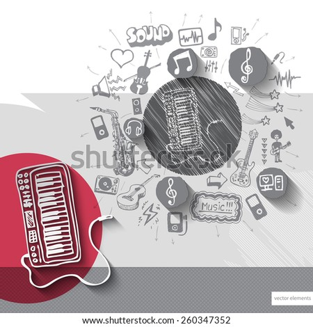 Hand drawn synthesizer icons with icons background. Vector illustration - stock vector