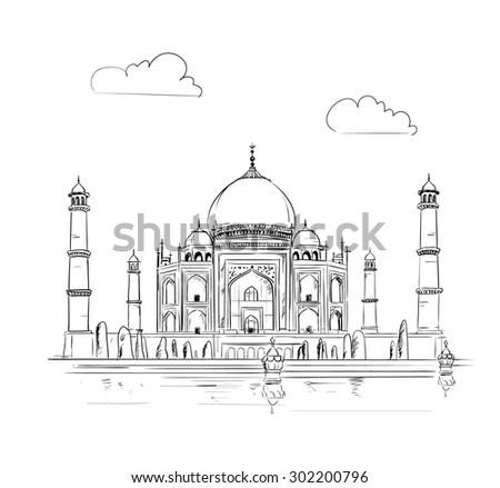 Hand drawn Taj Mahal vector Illustration, sketchy design  - stock vector