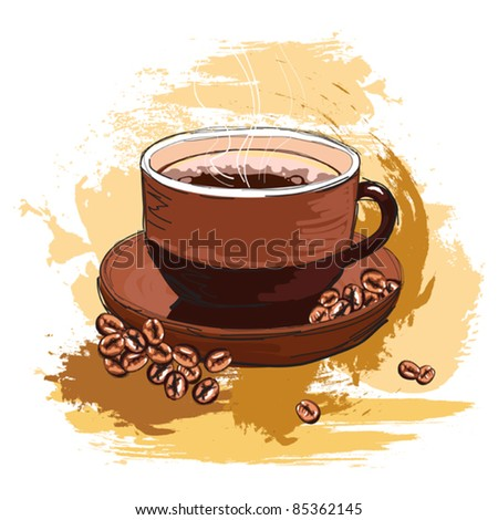 hand drawn tasty coffee and beans, created as very artistic painterly style for your design, isolated on white - stock vector