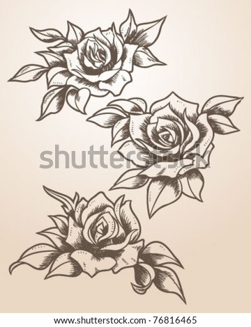 Hand Drawn Tattoo Inspired Roses - stock vector