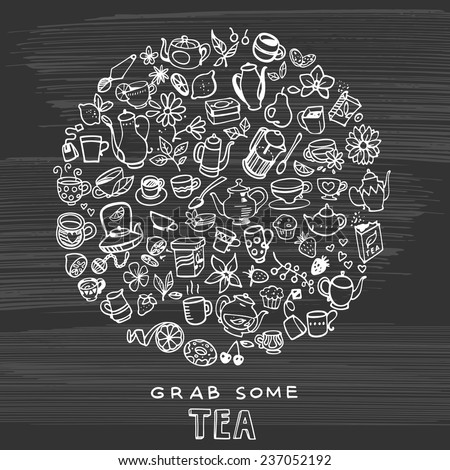 hand drawn tea background with cups, teapots, sweets - stock vector