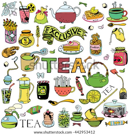Hand drawn Tea collection. - stock vector