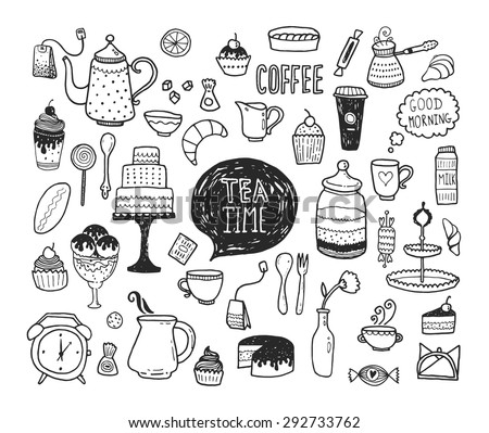 Hand drawn tea time collection, vector doodle set with teapots, glass, cupcake, decoration, tea, icecream, cup and sweets - stock vector