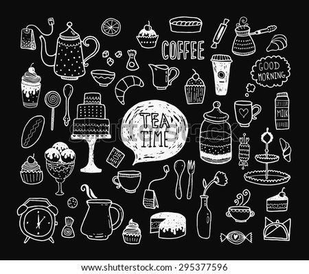 Hand drawn tea time collection, vector doodle set with teapots, glass, cupcake, decoration, tea, ice cream, cup and sweets - stock vector
