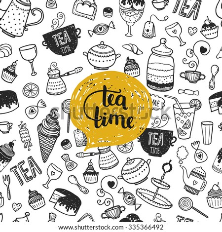Hand drawn Tea time illustration, vector doodle background with teapot, glass, cupcake, decoration, tea, icecream, cup and sweets - stock vector