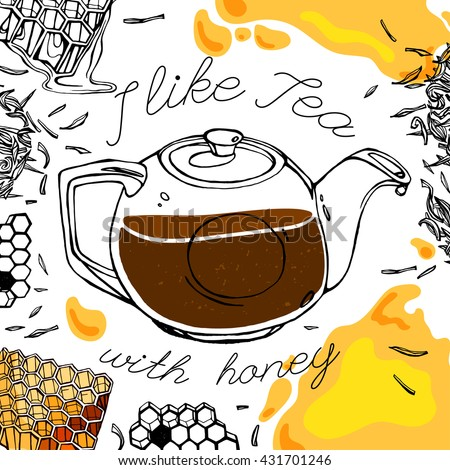 Hand drawn tea time image in artistic style. Vector editable illustration on a white background. Glass teapot with fresh tea, honey, tea leaves. Menu element for cafe or restaurant - stock vector