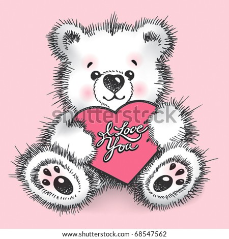 Hand drawn teddy bear with a heart in paws on a pink background. Vector illustration. - stock vector