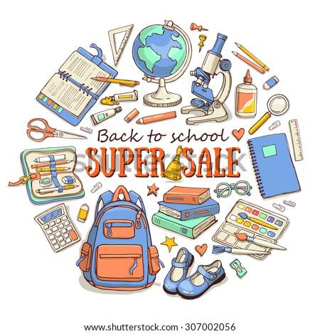 Hand drawn template with back to school object - books, notebook, blackboard, pen, globe, paint, shoes, backpack, microscope, pencil-case, glue. Super sale banner. Doodle back to school background. - stock vector