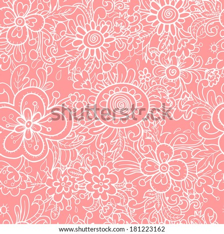 Hand drawn tender floral seamless pattern in fresh pastel tones. All objects are conveniently grouped on different layers and are easily editable