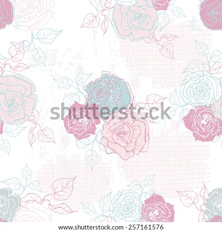 Hand drawn tender vintage  roses seamless pattern in pastel tones . All objects are conveniently grouped  and are easily editable. - stock vector