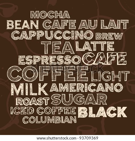 Hand drawn text lettering of coffee and cafe terms - stock vector