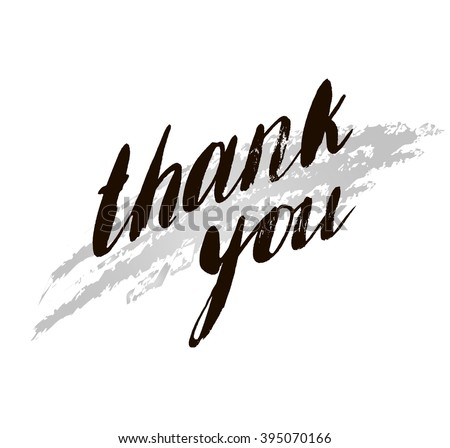 Hand drawn text with rough textured letters Thank you. - stock vector