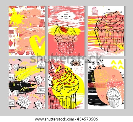 Hand drawn textured card set.Vector colored collection of artistic bakery cupcake cards.Hand Drawn textures for bakery shop,sweet store,cake shop sale,bakery logo element and bakery sign - stock vector