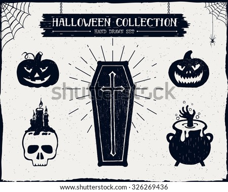 Hand drawn textured Halloween set of a coffin, jack-o-lanterns, skull, cauldron, and spiderwebs vector illustrations. - stock vector