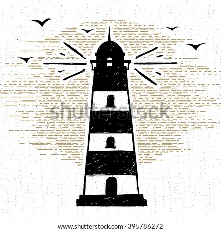 Hand drawn textured icon with lighthouse vector illustration. - stock vector