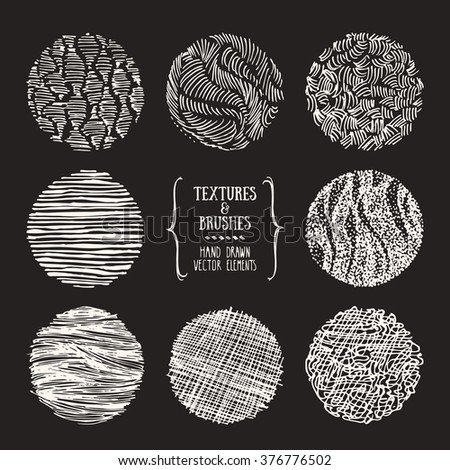 Hand drawn textures and brushes. Artistic collection of design elements: brush strokes, paint dabs, wavy lines, abstract backgrounds, patterns made with ink. Isolated vector. - stock vector
