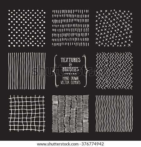 Hand drawn textures and brushes. Artistic collection of design elements: graphic patterns, geometric ornaments, abstract lines made with ink. Isolated vector. - stock vector