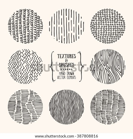 Hand drawn textures and brushes. Artistic collection of design elements: hatching ornament, brush strokes, wavy lines, abstract backgrounds, wood pattern made with ink. Isolated vector. - stock vector